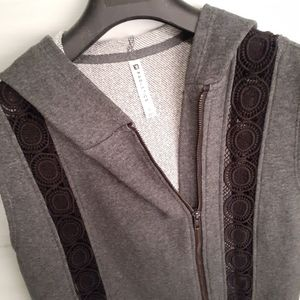 Fabletics Hooded Vest with Crochet Lace Insets